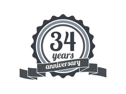 34th year anniversary logo