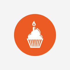 Birthday cake sign icon. Burning candle symbol