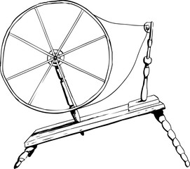 Antique Spinning Wheel Outline