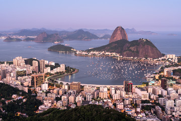 Wall Mural - Botafogo Bay and Sugarloaf Mountain in Rio de Janeiro in the Evening