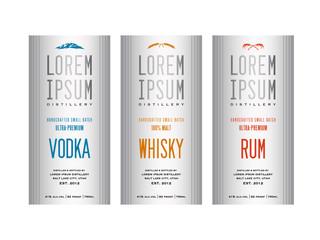 liquor bottle label designs for vodka, whisky whiskey and rum