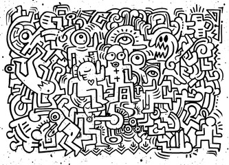 Dancing party pattern with doodled youngsters having fun