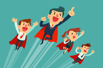super business team in red capes flying upwards
