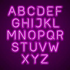 Pink neon light glowing alphabet