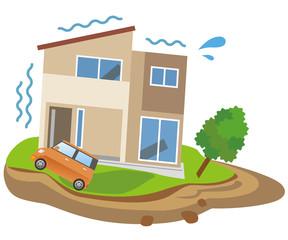 地滑り 地震 家 住宅