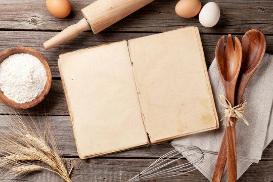 Vintage recipe book, utensils and ingredients