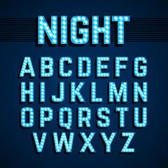 Broadway lights style light bulb alphabet, night show.