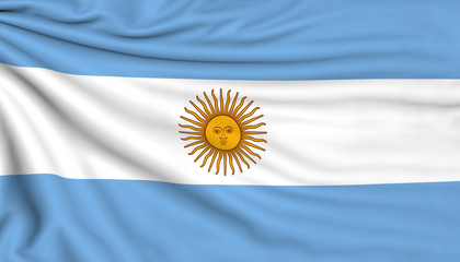 Flag of Argentina, 3d illustration with fabric texture