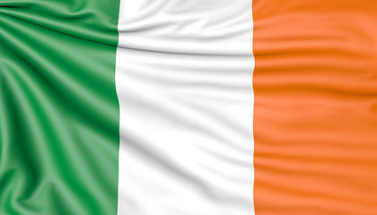 Flag of Ireland, 3d illustration with fabric texture
