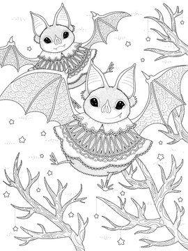 lovely bat adult coloring page