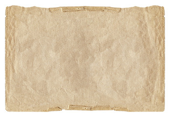 Vintage light crumpled paper blank with torn edges isolated on white background. Old texture for design.
