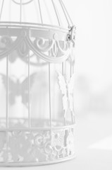 vintage bird cage on the table as part of the interior