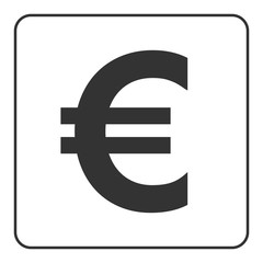 Euro sign. Symbol of currency, finance, business and banking. Money label. Gray flat icon isolated on white background. Flat design concept. Modern UI website navigation. Stock Vector illustration.