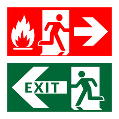 Exit sign. Emergency fire exit door and exit door. Green and red icon on white background. Safe condition symbol. Public information label with flame, human figure and arrow. Stock Vector illustration