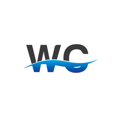 wc initial logo with swoosh blue and grey