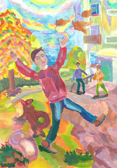 Children playing fun outdoors in the fall. Watercolor painting