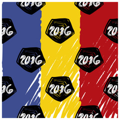 Pattern for 2016 France football championship. A soccer ball pattern and  a Romania flag