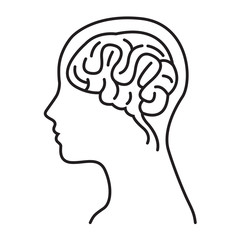 Women Brain Head Illustration / Women Brain Head Outline Draw Illustration