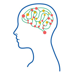 Color Women Brain Illustration / Women Brain Think Colorful Illustration