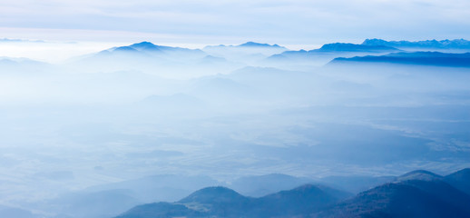 blue foggy mountain landscape
