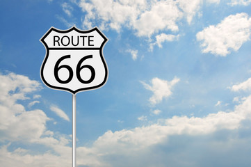 Fotobehang Route 66 Route 66 road sign over the cloudy sky