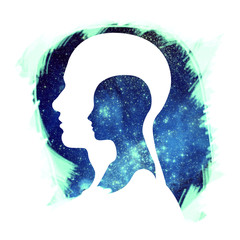 Human Head and Universe / Human and Universe with Brush Stroke on White Background