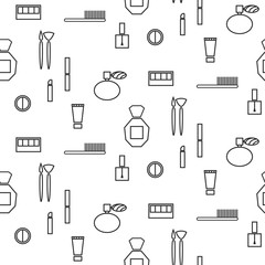 Makeup objects and products seamless pattern. Outline thin cosmetic icons for website background or wrapping paper.