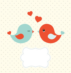 Abstract template with two cute birds and blank frame, illustration