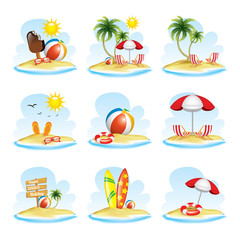 Set of Summer realistic design. vector