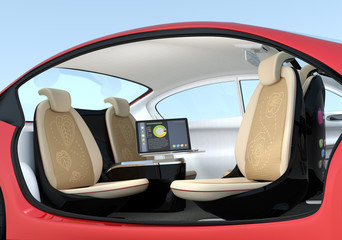 Self-driving car interior concept. Driver seats could turned to rear side, people can have short meeting while they on the way.  3D rendering image with clipping path.