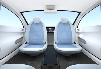 Self-driving car interior concept. The front seats could turned to rear side, help passengers talking face to face.  3D rendering image with clipping path.