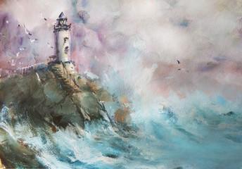 Obraz Lighthouse. Seascape. Oil. - fototapety do salonu