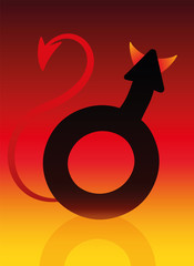 Male devil symbol with tails and horns on blazing background as a symbol for a bad boy. Vector illustration.