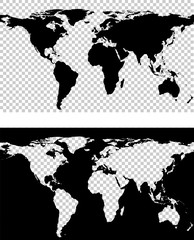 Vector illustration of map of world with imitation of transparent background
