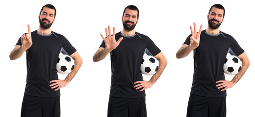 Football player counting five