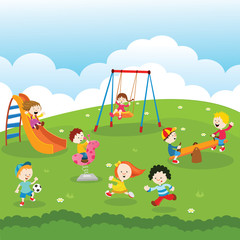Kids At Park Illustration