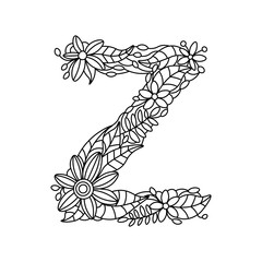 Letter Z coloring book for adults vector