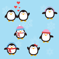 Cute penguin with variation style and position
