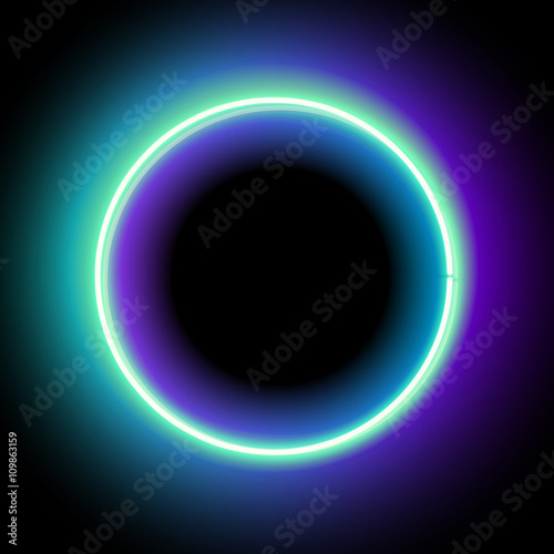 neon circle neon blue light vector electric frame vintage frame