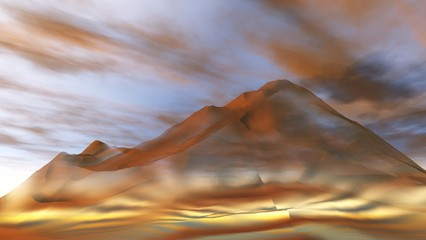 abstract rock background, a fantastic mountain in the form of abstraction, mountain peak on sky background