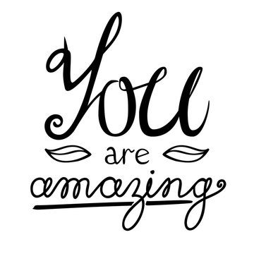You are amazing lettering vector card