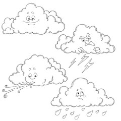 Set of cartoon clouds. Vector characters. Coloring book.
