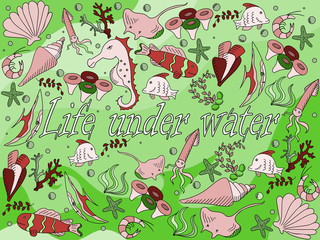 Life under water vector illustration