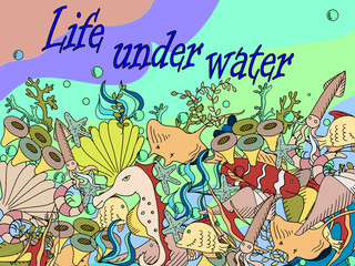 Life under water vector illustration