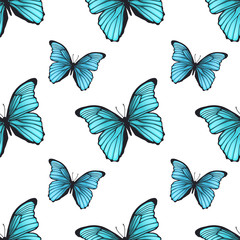 Seamless pattern with bright blue butterflies