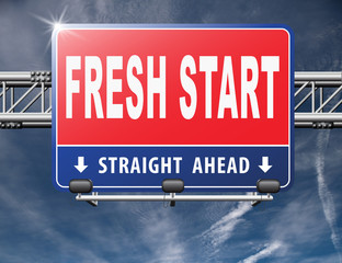 new fresh start or chance back to the beginning and do it again road sign billboard.