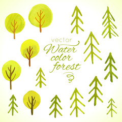 Watercolor trees set. Template for your design