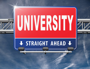 University education and graduation study application grant or scholarship campus choice, road sign billboard. ..