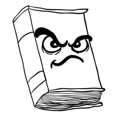 black and white angry old book