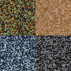 Abstract pixel camouflage background. Set of four vector seamless patterns.